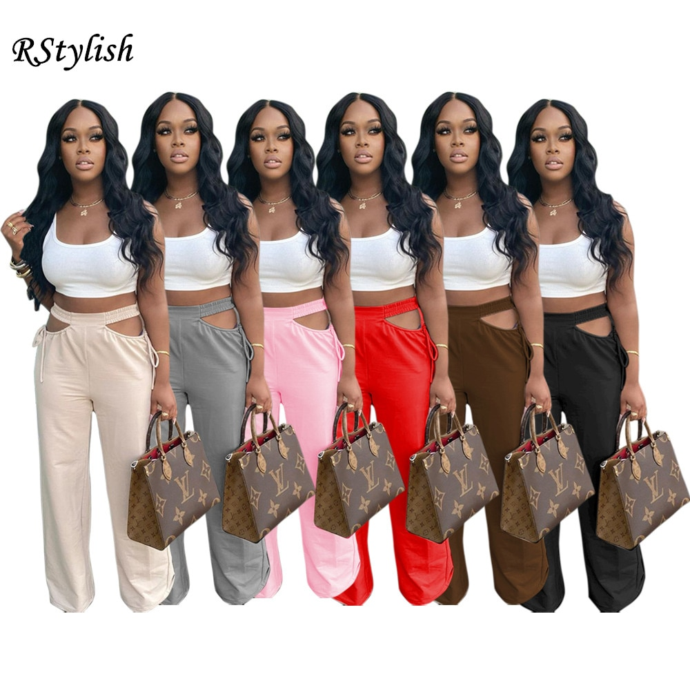 RStylish Women Wide Leg Sexy Cut Out Pants Solid Color Elastic Waist Hollow Out Bandage Trousers 2021 Summer Fashion Streetwear