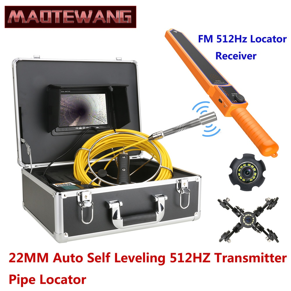 Review 7″ Monitor 22MM IP68 HD1000TVL Sewer Pipe Inspection Video Camera with Auto Self Leveling 512HZ Pipe Locator 12PCS LED  Lights