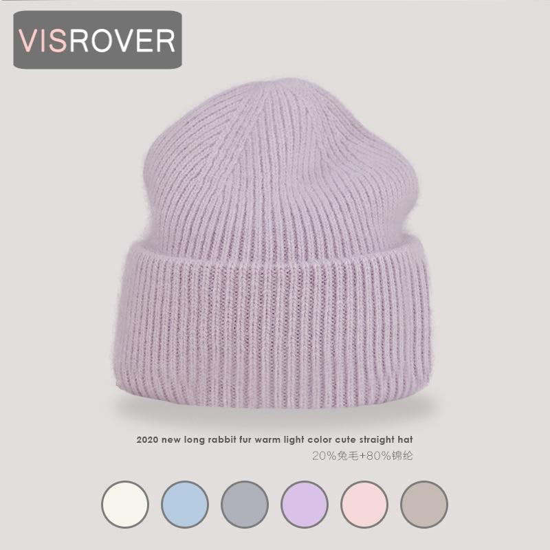 VISROVER 9 Colors Unisex Solid Color Real Rabbit Fur Beanies Winter Hat For Woman Knit Bonnet Acrylic Woman Autumn Warm Skullies