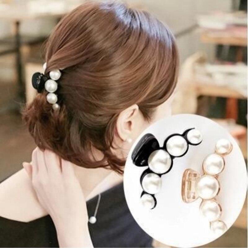 Xugar 2Pcs/Set Pearl Hair Claws Clips Solid Shiny Rhinestone Crab Hairpins For Girls Ornaments Barrettes Womens Hair Accessories