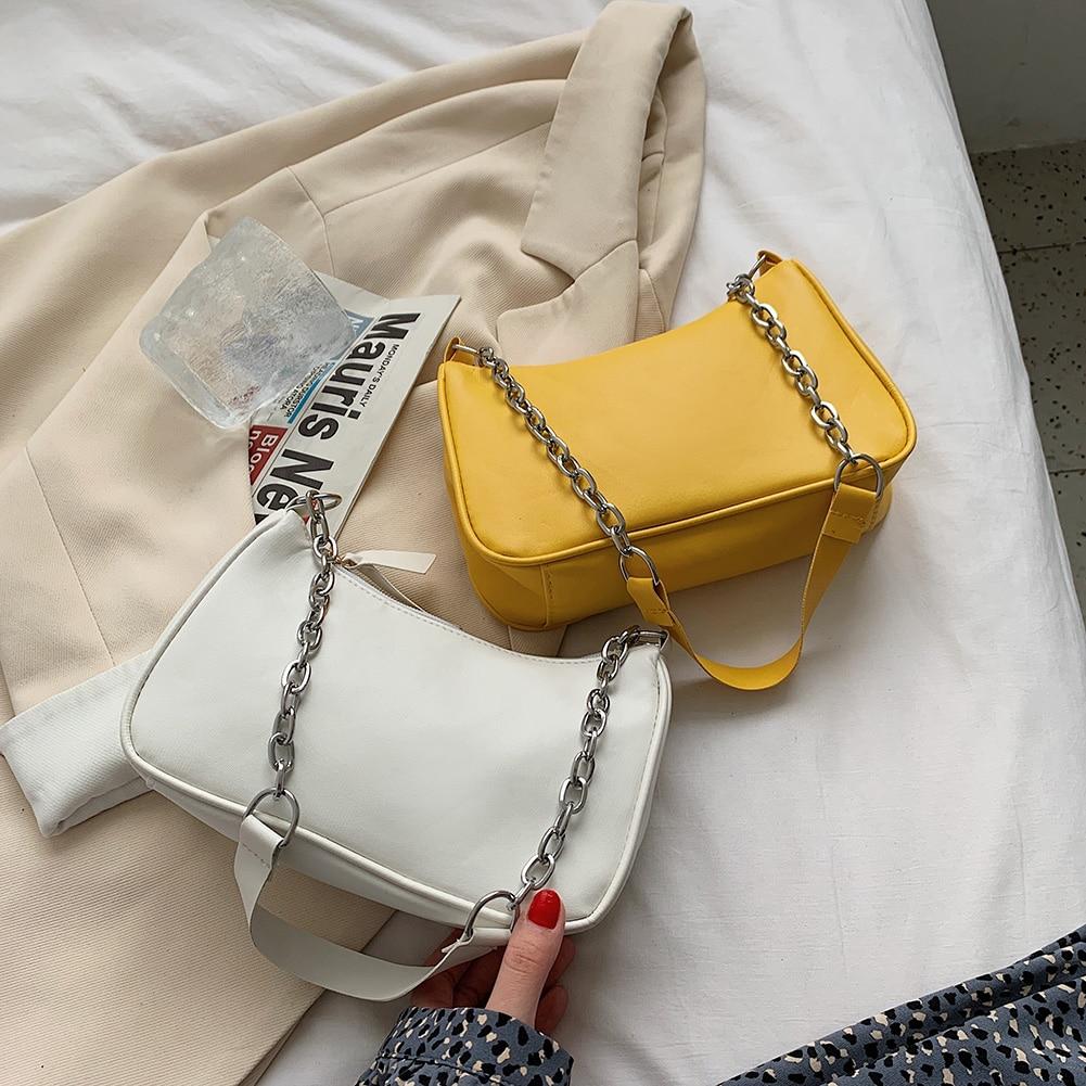 Fashion Women PU Leather Shoulder Bags Pure Color Underarm Hobos Bag Vintage Chain Zipper Ladies Handbags 2021 Tote Hot Sale