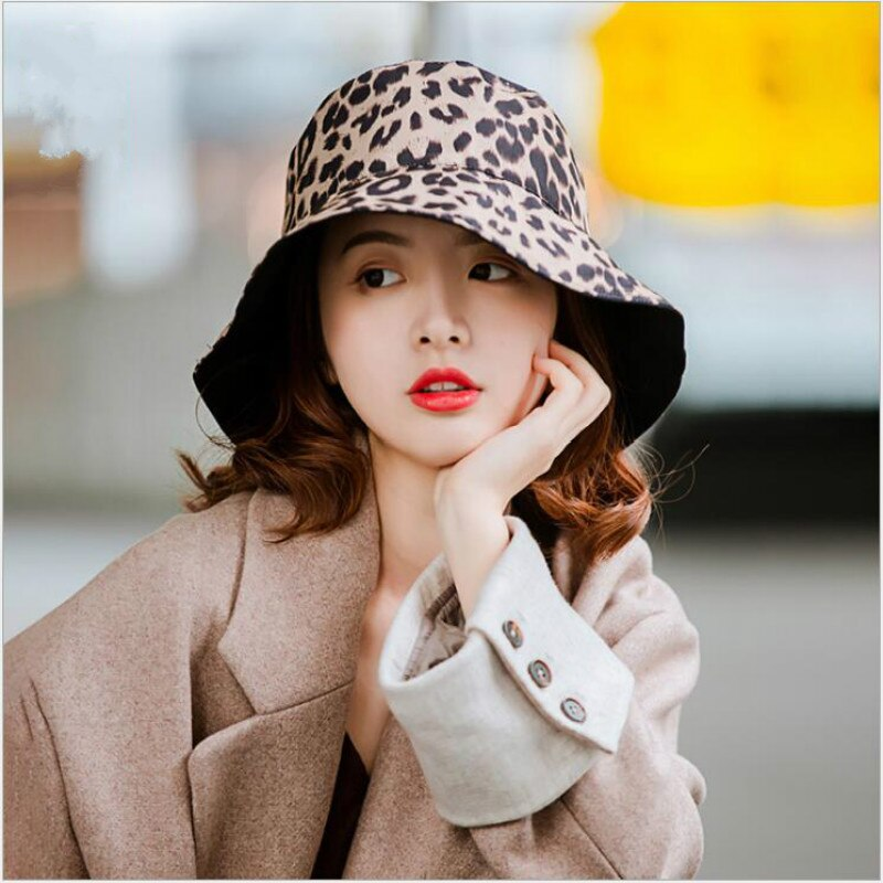 Sombrero Reversible de leopardo para mujer, sombrero Reversible de algodón Panamá de ala ancha, sombrero para sol para mujer, sombrero de playa al aire libre, gorra de pesca