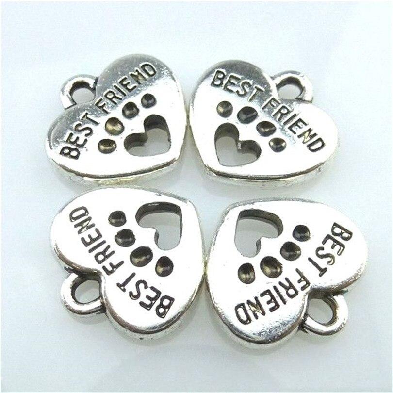 10pcs Tibetan Silver Heart Dog Paw Best Friend Charms Pendants For Jewelry Making Handmade 13610