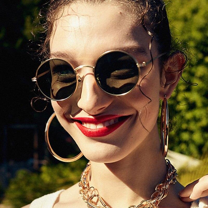 Metal Round Oversized Women Sunglasses Anti-Reflective Mirror Classic Fashion Sun Glasses Vintage Me