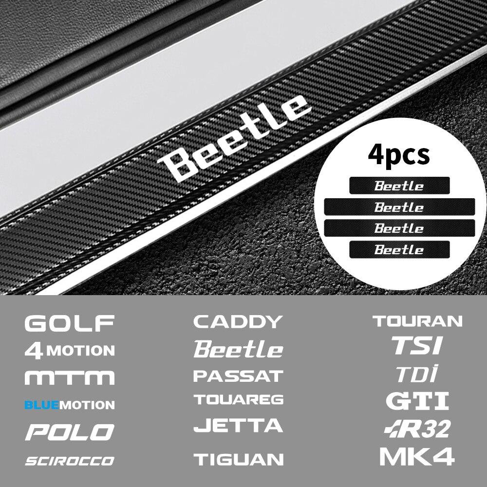 4 Uds de fibra de carbono de coche cubierta de alféizar de puerta Protector etiqueta para Volkswagen golf Jetta Tiguan Passat R32 MK4 coche Touareg Accesorios