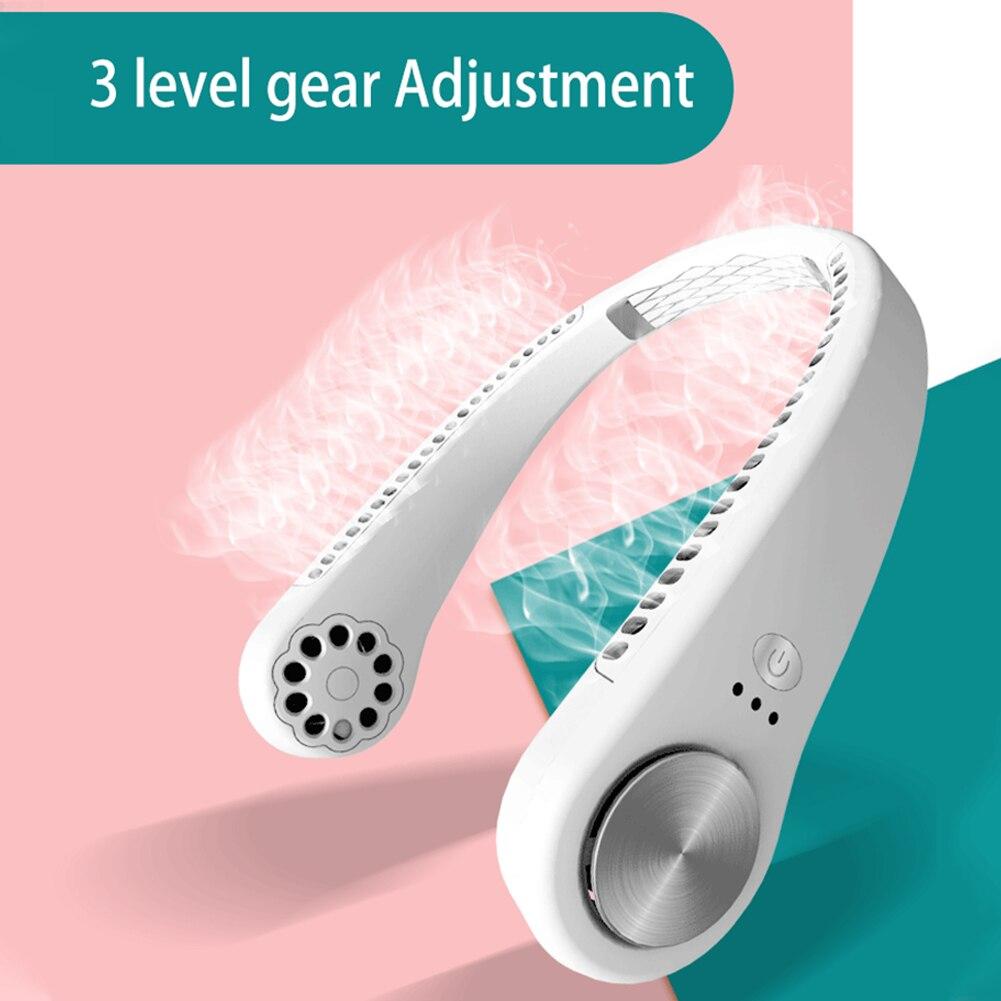 Портативный мини-вентилятор для шеи без лопасти, 4000 мАч, USB-перезаряжаемый вентилятор, бесшумные спортивные вентиляторы для дома, офиса и за...