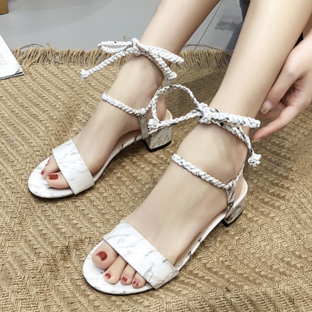 Bonitas sandalias de mujer para mujer, zapatos de verano a la moda sexis con cordones y tacón de gatito, sandalias femeninas elegantes atadas con cruz romana