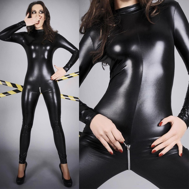 4xl plus size mulheres de couro do plutônio pólo dança noite clubwear bodystocking sexy quente erótico zíper aberto virilha manga longa bodysuit