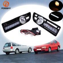POSSBAY voiture antibrouillard feux de jour halogène/LED feux de brouillard pour 1999 2000 2001 2002 2003 2004 2005 2006 2007 VW Bora Jetta MK4