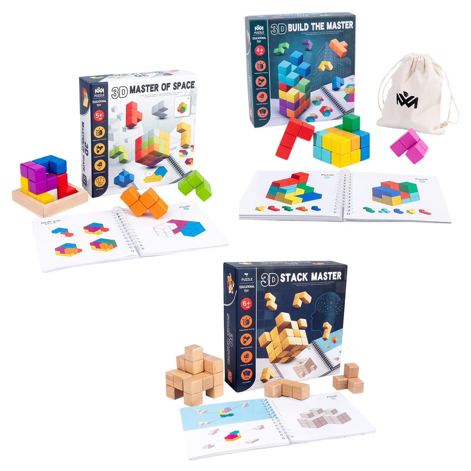 caixa de quebra cabecas de madeira colorida empilhamento de jogos com tijolos coloridos