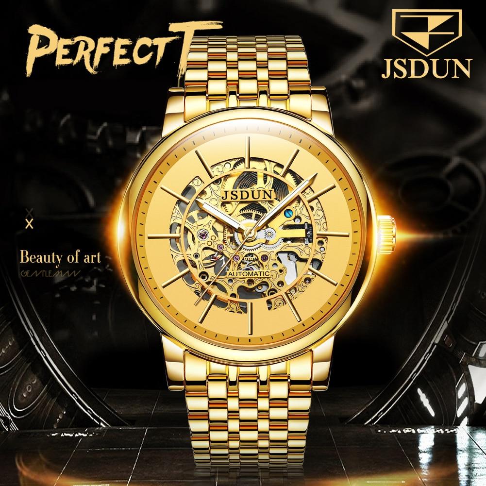 JSDUN ساعة الموضة الميكانيكية على مدار الساعة فارغة تماما الفاخرة الفاخرة على مدار الساعة في المحلية مقاوم للماء مشرق الذهب لساعات الأعمال