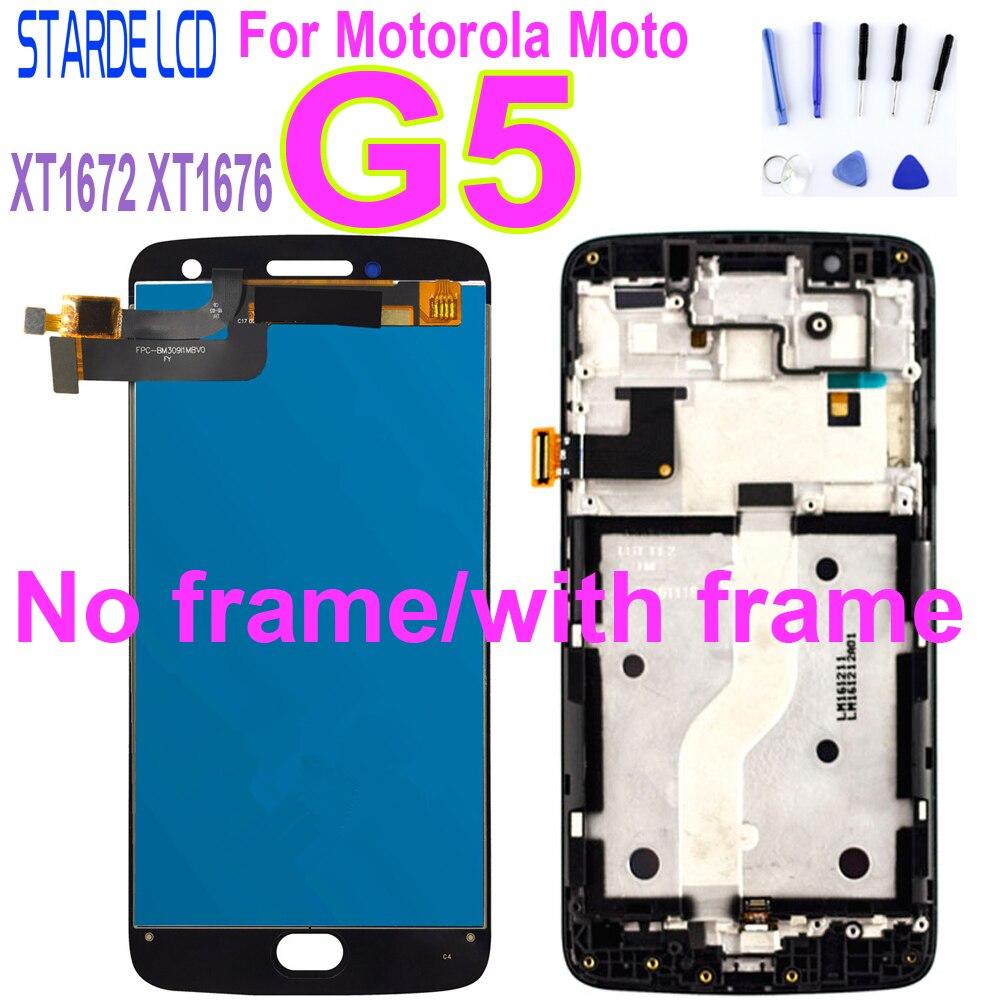 LCD de 5,0 pulgadas para Motorola Moto G5 XT1670 XT1671 XT1672 XT1675 XT1676 pantalla LCD MONTAJE DE digitalizador con pantalla táctil con marco