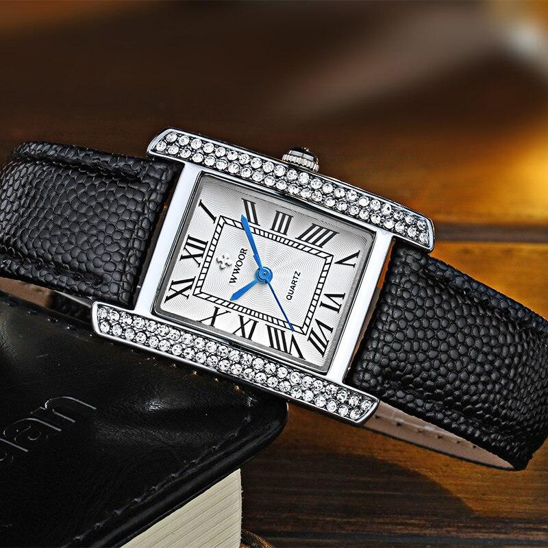 Relogio Feminino WWOOR Fashion Brand Wristwatch For Women xfcs Top Luxury Diamond Square Ladies Watch Black Leather Bracelet2020 enlarge