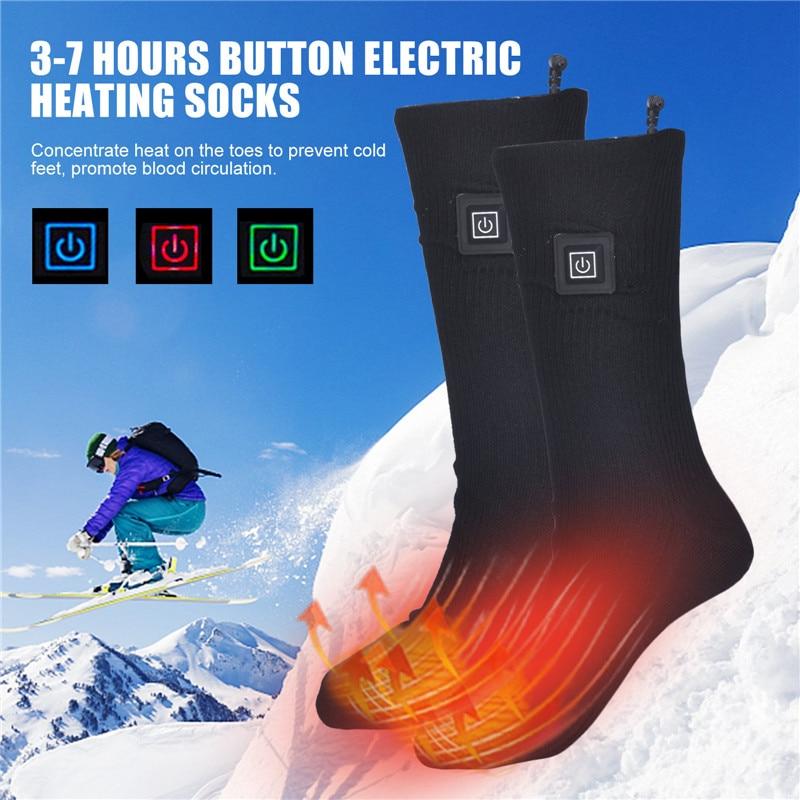 Носки с электрическим подогревом, носки с электрическим подогревом и кнопкой, носки с перезаряжаемым аккумулятором, теплые носки для катан...