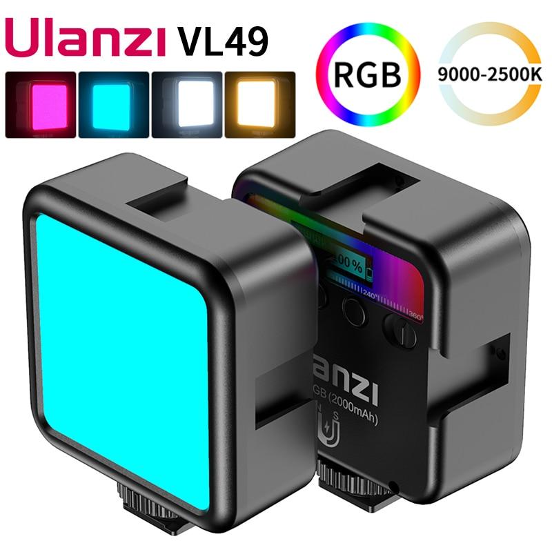 Ulanzi VL49 Mini RGB LED الفيديو الضوئي 2700K-9000K على الكاميرا ملء ضوء التصوير الإضاءة جيب لايف Tiktok Vlog ضوء مصباح