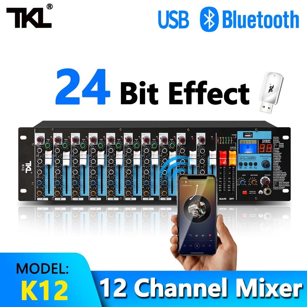 TKL-خلاط صوت احترافي ، 12 قناة ، بلوتوث ، 48 فولت ، ميكروفون XLR ، وحدة خلط DJ ، تسجيل USB