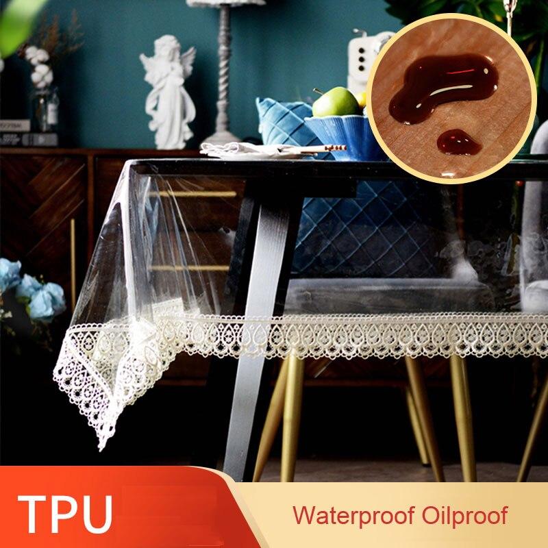 لينة بولي TPU شفاف Tablecloth سيليكون مستطيلة مقاوم للماء الدانتيل التطريز طاولة قهوة العشاء غطاء الحدث المطبخ النفط