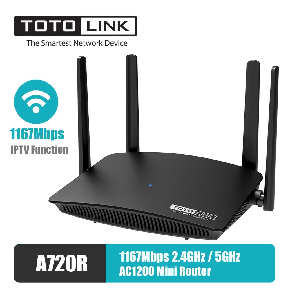 TOTOLINK-راوتر واي فاي صغير A720R ، wi-fi 5 جيجاهرتز/2.4 جيجاهرتز ، 1167 ميجابت في الثانية ، وظيفة IPTV ، 4 * 5dBi ، هوائي ثابت