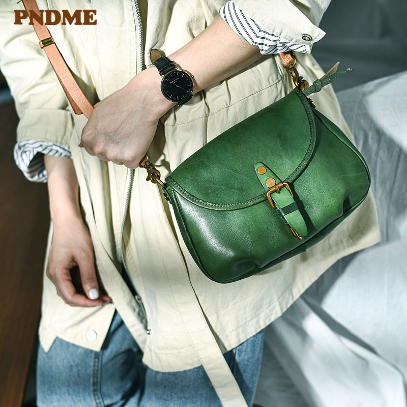 PNDME fashion casual handmade genuine leather ladies small crossbody bags design natural real cowhide party women's shoulder bag