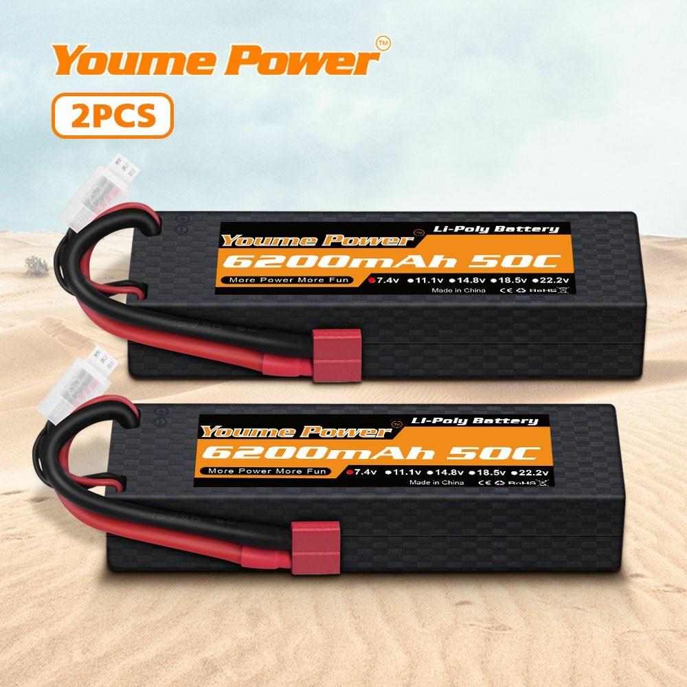 2 paquetes de batería RC 7,4 V 6200mah 2s Lipo 50C Estuche Duro con enchufe TRX para Traxxa 1/10 1/8 escala Buggy coche camión barco Heli Drone