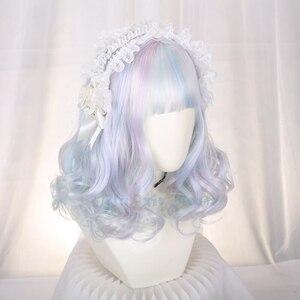 3 Colors Mixed Blue Purple Lolita Wig Harajuku Fairy Cosplay Orange Curly Sweet Fringe Adult Girls Synthetic Hair