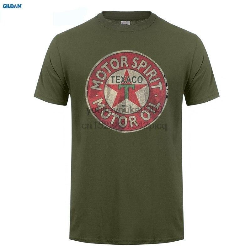 Мужская короткая забавная футболка с круглым вырезом, облегающий Топ Texaco, Ретро логотип, бензин для авто, моторное масло, винтажная Мужская ...