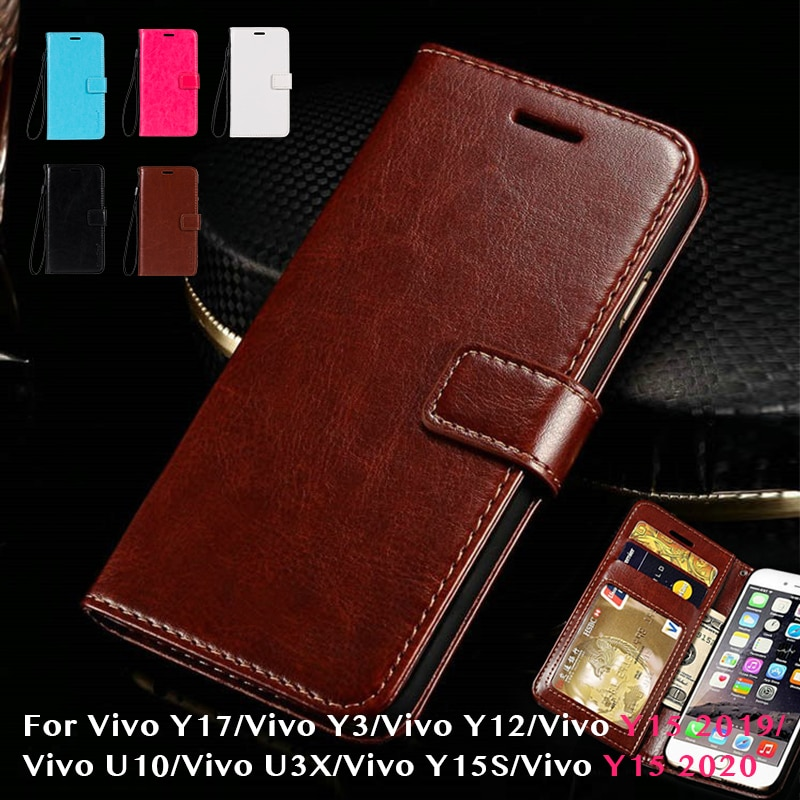 Leather Flip Case For Vivo Y17 Silicone Case Wallet Cover For Vivo Y3/Vivo Y12/Vivo Y15 2019/U10/U3X/Y15S/Y15 2020 Business Case