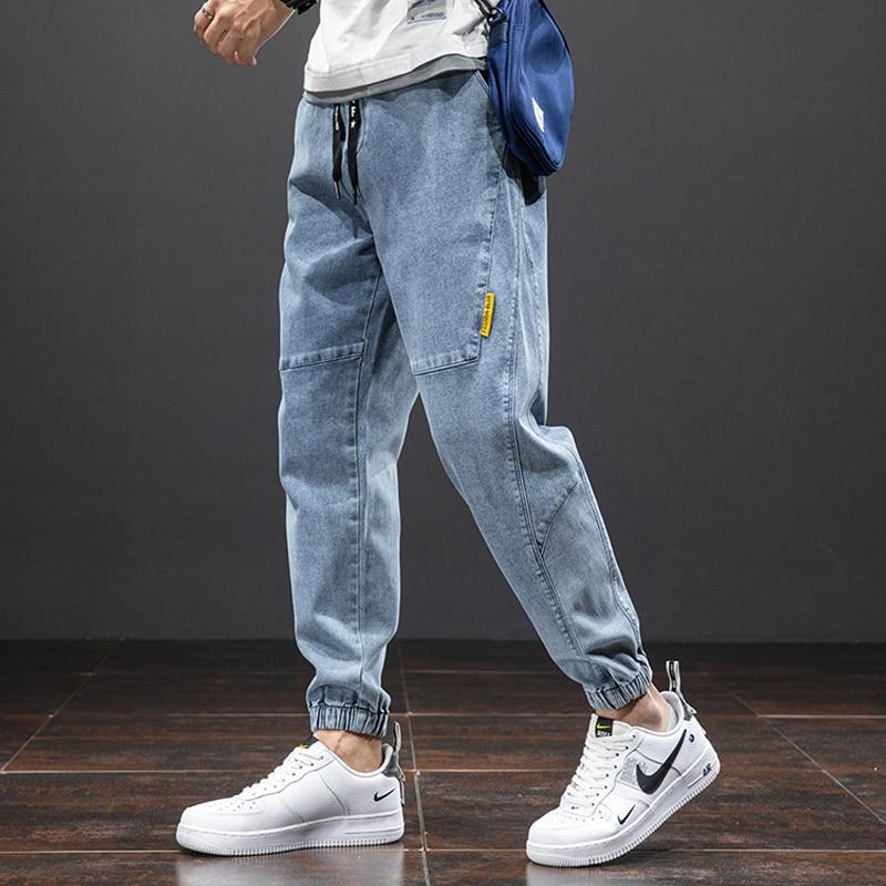 2021 Новые однотонные хлопковые повседневные мешковатые джинсы для мужчин, джинсовые джоггеры, уличная одежда, шаровары, джинсы, брюки, больш...