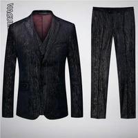 vaguelette striped pattern men suit slim fit for men wedding party dress classic printed 3 pcs suit with vest 2020