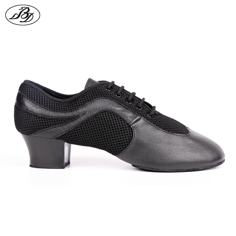 Zapatos de baile latino para hombre, cuero auténtico, malla elástica BD 468, suela dividida, zapatos de baile, salsa de Baile Estándar