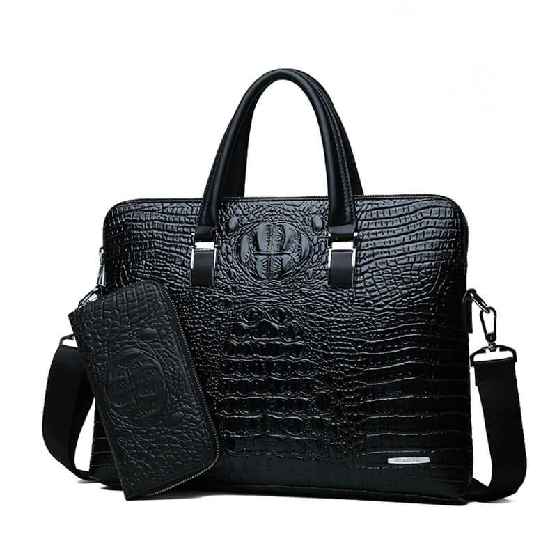 Double Layer Men's Handbag Men Briefcases Leather Handbags Crocodile Pattern Shoulder Bag Male Business Men Laptop Bag Sac Homme