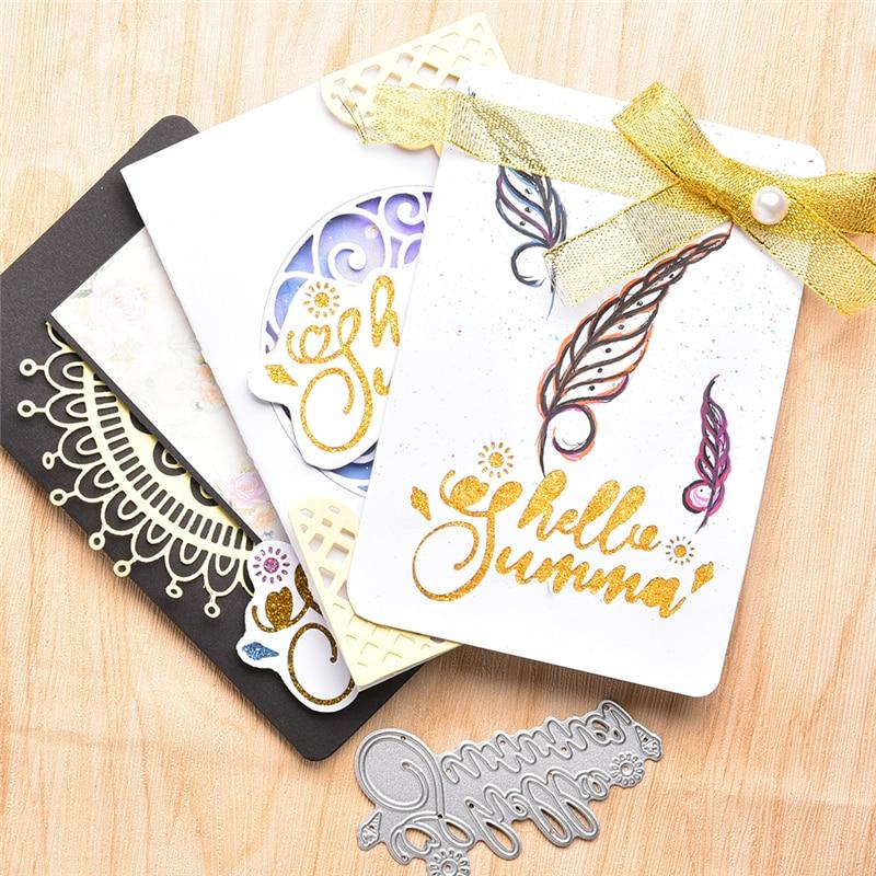YaMinSanNiO Hello Sunshine слова штампы металлические режущие штампы для изготовления карт Скрапбукинг альбом тиснение трафарет ремесло буквы штампы