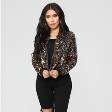 Spring Streetwear Women's Sequined Jacket New Retro Zipper Long-Sleeved Fashion Color Matching Short