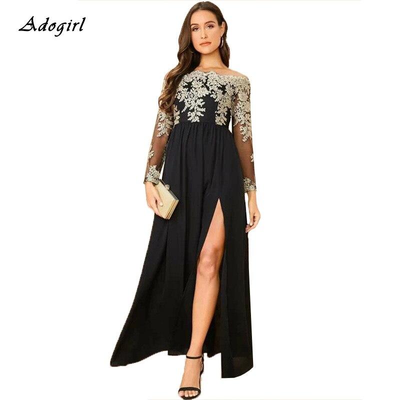 Adogirl-Vestido de encaje bordado de talla grande, mujer, elegante, sin hombro, manga larga, corte A, abertura larga, Vestido de fiesta de noche