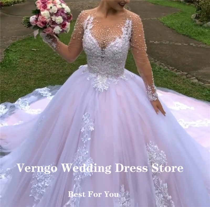 Verngo Princess Pink Wedding Dresses Lace Applique Pearls Sheer Neck Long Sleeves Garden Bridal Gowns 18 Girls Quinceanera Dress
