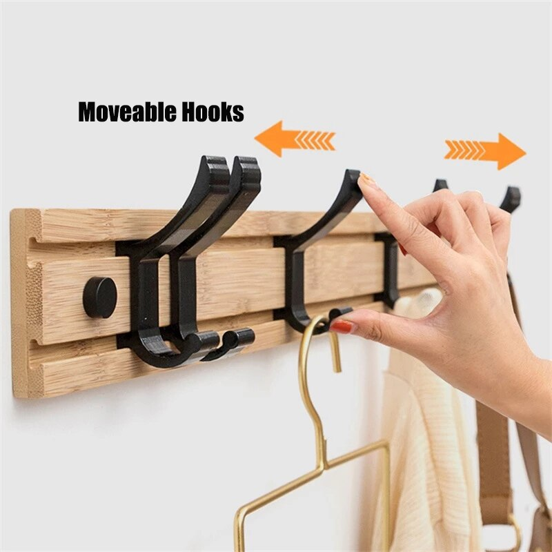 Wall Mounted Coat Hook Wooden Bedroom Furniture Clothes Rack Robe Towel Hanger Hat Bag Hooks Bathroom 5 Hooks Household Products