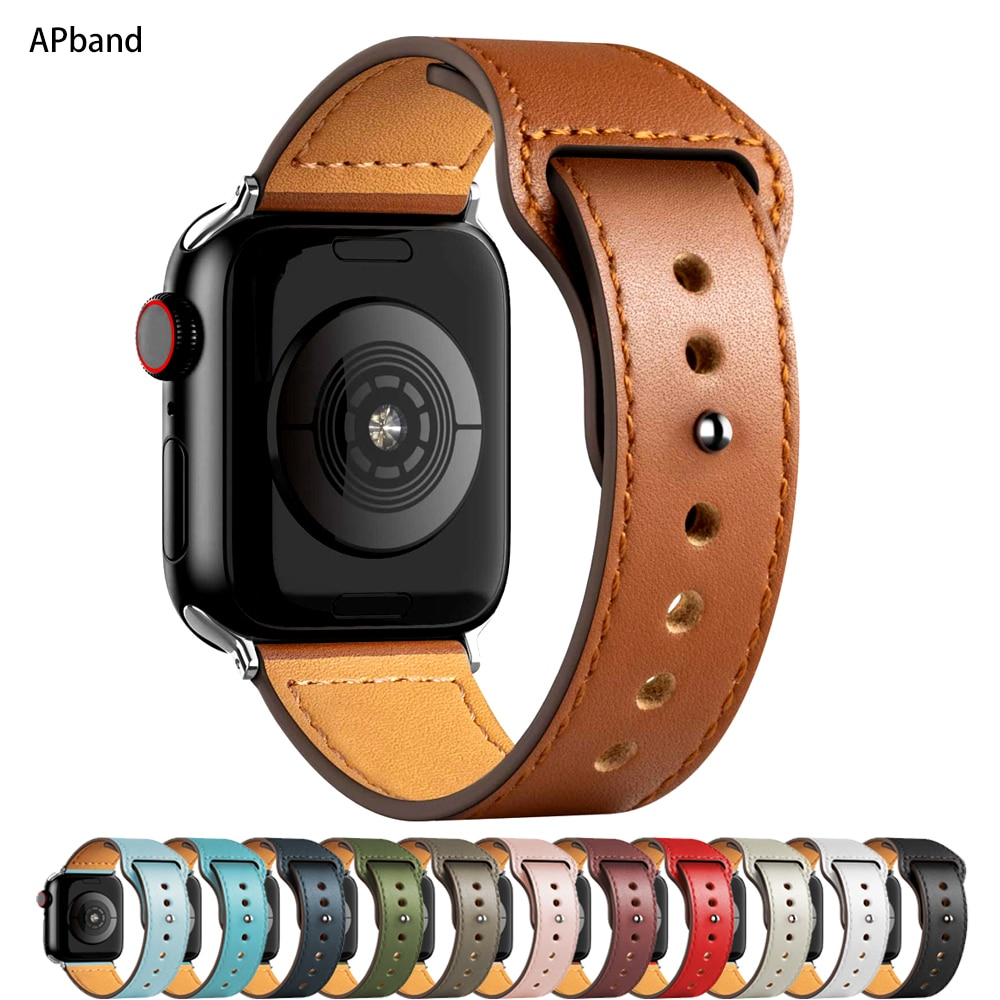 Leather strap For Apple watch band 44mm 40mm 42mm 38mm 44 mm Smartwatch Accessories wristband bracelet iWatch 3 4 5 SE 6 7