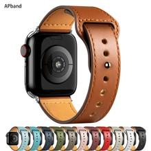 Correa de cuero para Apple watch, banda de 44mm, 40mm, 42mm, 38mm, 44mm, accesorios para reloj inteligente iWatch 3 4 5 SE 6 7