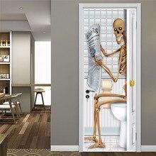 Autocollant squelette lecture 3D de journal   Autocollant de porte, auto-adhésif, décoration étanche, bricolage, papier peint pour portes, salon, rénovation murale