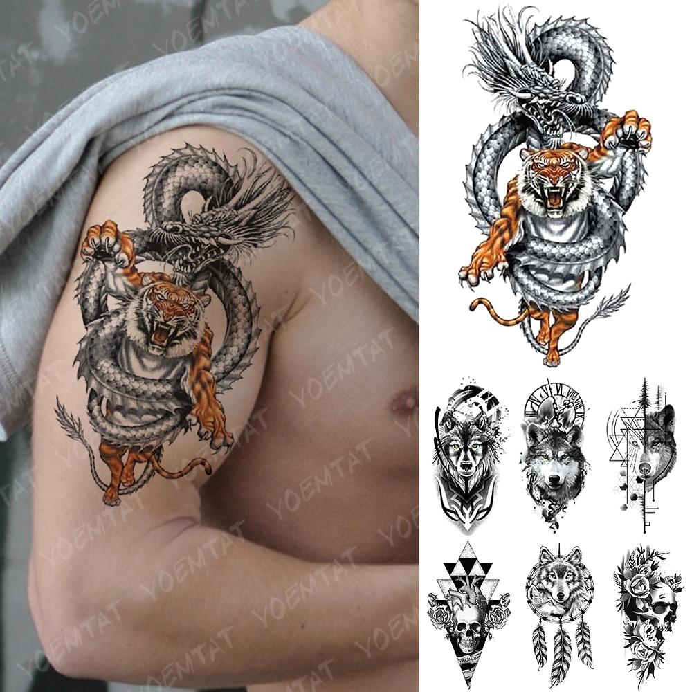 Водостойкая временная татуировка наклейка Дракон Тигр геометрический волк Вспышка татуировки Сердце Череп боди арт рука поддельные татуировки для женщин и мужчин