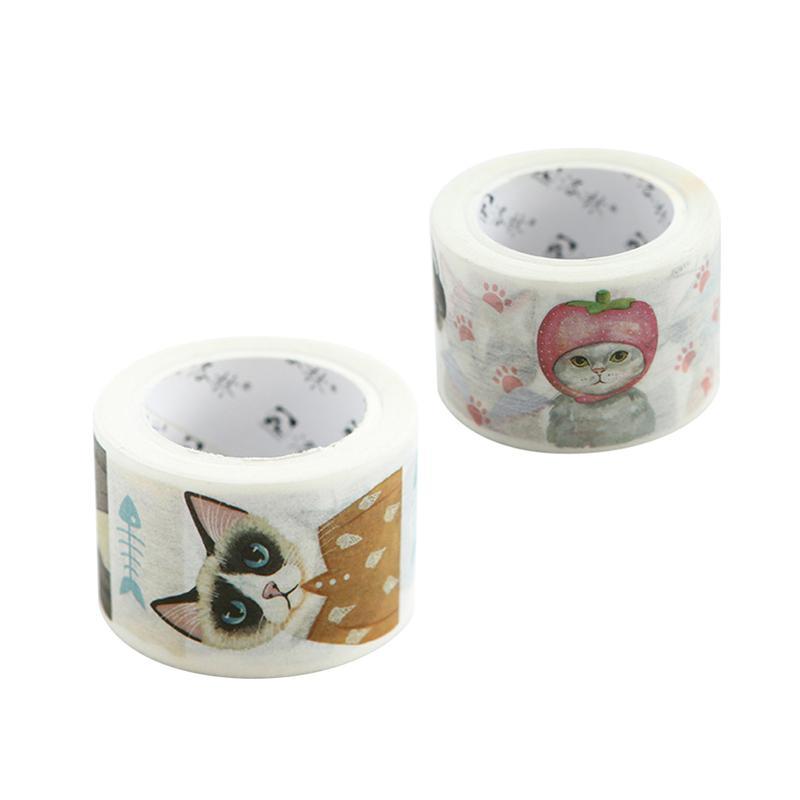 2 rollos de cinta decorativa de gato bonito, cinta adhesiva Washi para álbum de recortes, manualidades DIY, envoltura de regalo (patrón aleatorio)