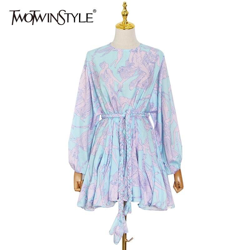TWOTWINSTYLE طباعة فستان للنساء س الرقبة فانوس كم طويل عالية الخصر ضمادة ضرب اللون فساتين صيفية شفافة الإناث 2021 الملابس