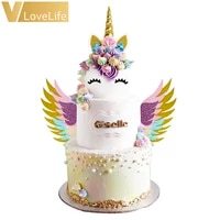 unicorn cake topper cupcake suit unicornio horn ears wings birthday party cake decorations birthday gift for kids supplies tools