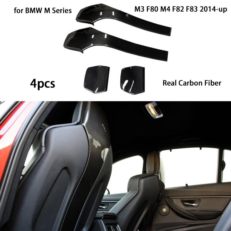4 Uds. De fibra de carbono funda de respaldo de asiento Universal para BMW M Series M3 F80 M4 F82 F83 2014-up Silla de parche trasero bancos