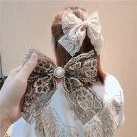 new fabric lace big bow spring clip pearl bowknot hair pins for women girls hair jewelry fashion headwear hair accessories