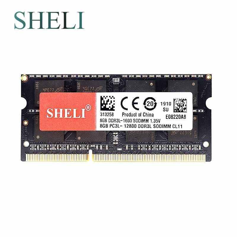 SHELI New Notebooks Memory 8GB 2RX8 PC3L-12800S DDR3L 1600MHZ 204pin CL11 Laptop Memory