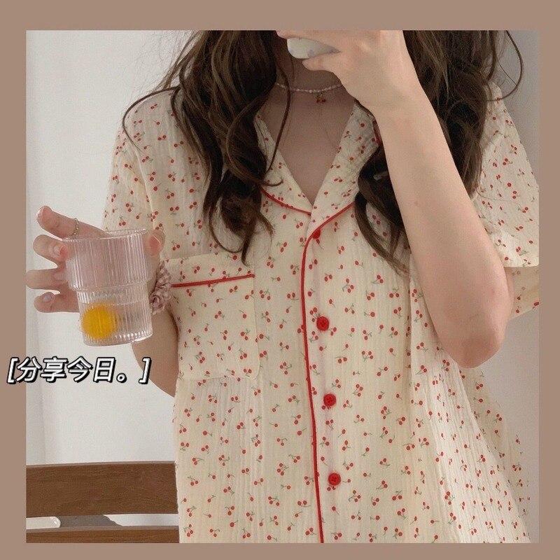 Women's Pajamas Summer Cotton Sleepwear Korean Girls Cute Print Pyjama Loose Lapel Pijamas Plus Size