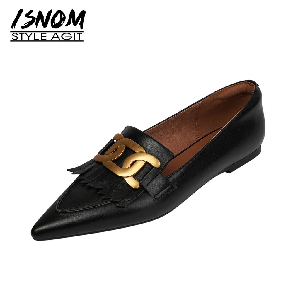 ISNOM-حذاء موكاسين من الجلد الطبيعي مع سلسلة للنساء ، حذاء بدون كعب ناعم ومقدمة مدببة ، نمط غير رسمي ، 2021