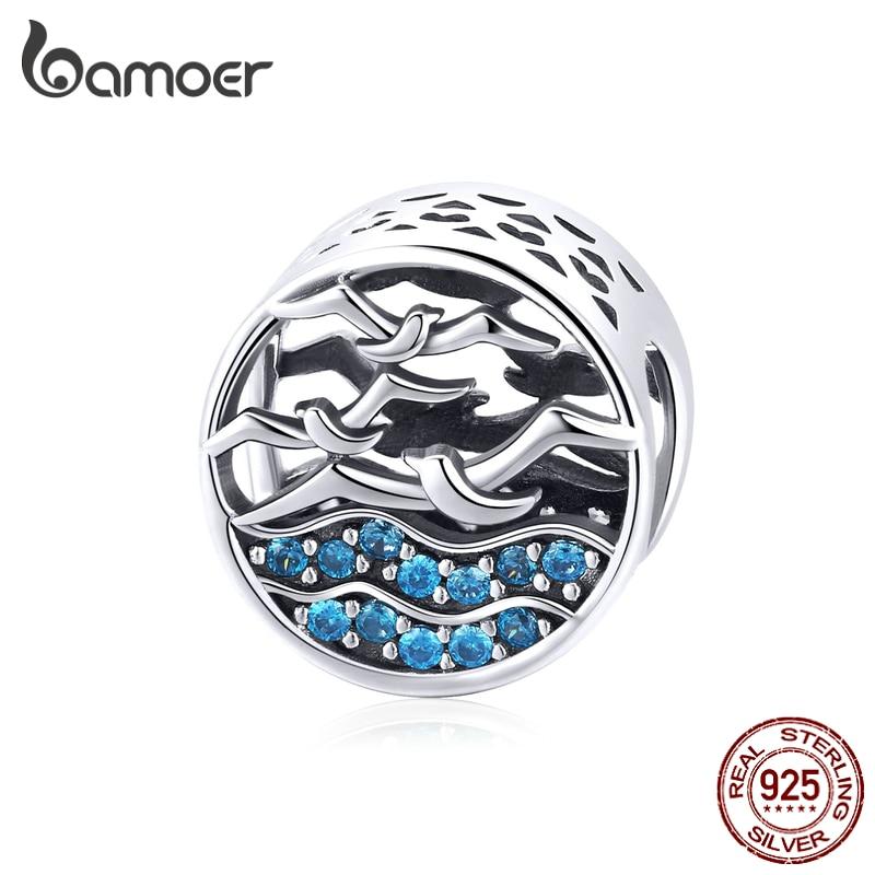 Bamoer genuíno 925 prata esterlina voar gaivotas no oceano contas redondas para as mulheres diy charme pulseira acessórios scc1454