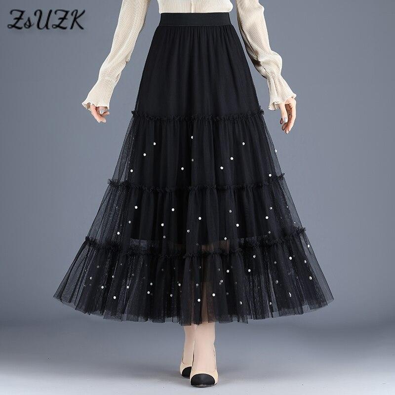 New Mesh Beading Skirts Women Elastic High Waist A Line Midi Long Pleated Skirt  Womens Tulle Skirt